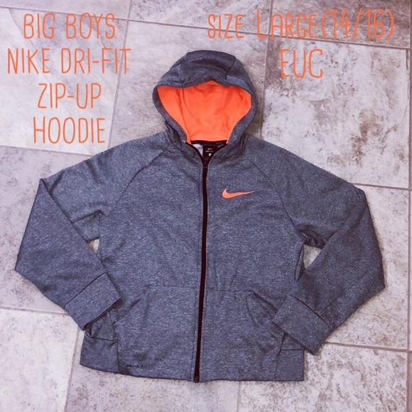 c910a1b7bd2e BIG Boys NIKE Dri-Fit Zip-up Hoodie